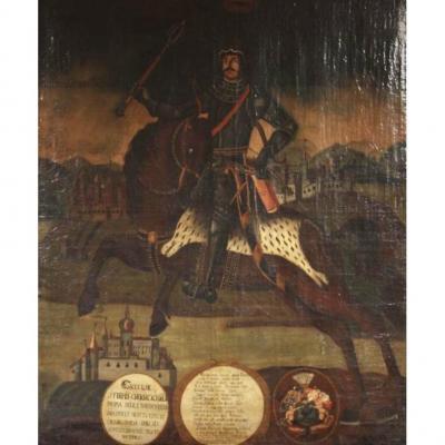 Portrait à cheval du héros de Dessew , école Hongroise vers 1700