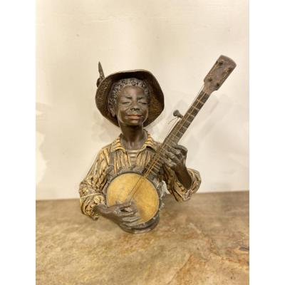 Polychrome Metal Banjo Player Circa 1880