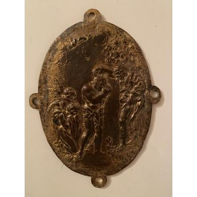 """Plaquette en bronze doré  """"le baptême du Christ """" vers 1700"""