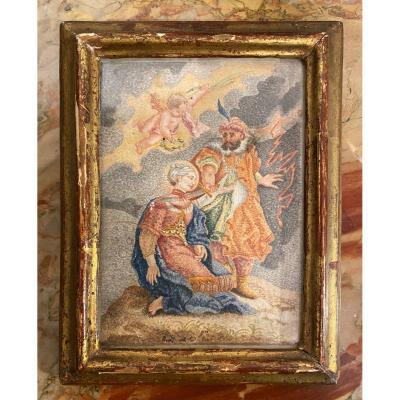 """Aquarelle sur vélin """" martyre de Sainte Barbe """" , XVIIIème siècle"""