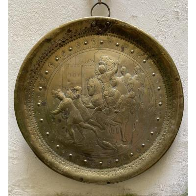 Large Brass Plate Representing Alexander The Great, Circa 1700