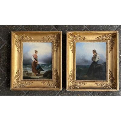 "Pair Of Paintings ""characters And Children In Front Of The Sea"", Signed Gautier XIXth Century"