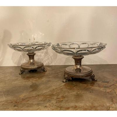 Pair Of Silver And Crystal Display Cups, Goldsmith Lebrun