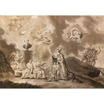 """Dessin  """" la vertu surmonte tous les obstacles """" fin XVIIIème siècle"""