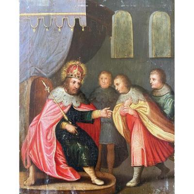 Huile sur panneau représentant Saint Louis , XVIIème siècle