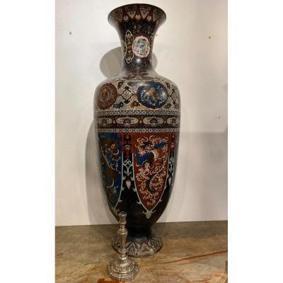 Important vase en émail cloisonné , japon époque Meiji