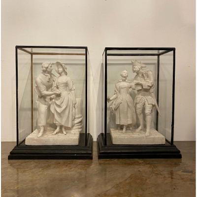 Paire de sculptures en plâtre , scènes pastorales , vers 1880