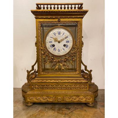 Louis XVI Style Gilt Bronze Cage Clock, Lemerle Charpentier