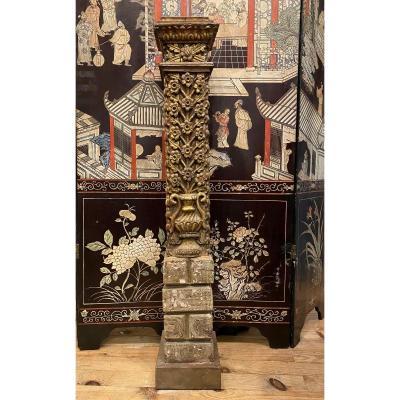 colonne en bois sculpté XVIIIème siècle