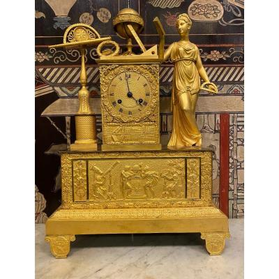Gilt Bronze Clock With Allegory Of Astronomy, Empire Period