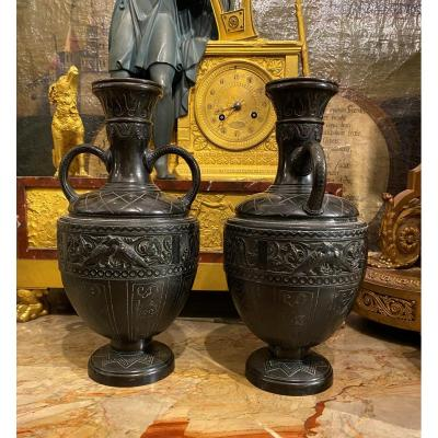Pair Of Patinated Bronze Vases In The Neo Babylonian Style