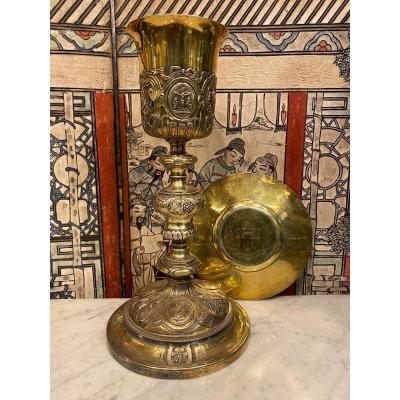 Chalice And Its Paten In Gilded Silver, Locre House Circa 1840