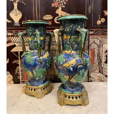 Pair Of Large Ceramic Vases Mounted Bronze, 19th Century