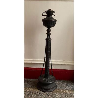 Grande lampe de parquet en bronze , Indochine vers 1880