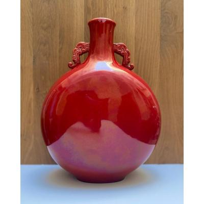 Large Porcelain Gourd Vase By Paul Millet In Sèvres