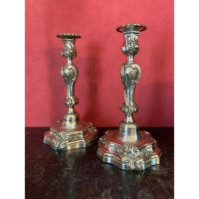 Pair Of Large Silver-plated Metal Candlesticks With Regency Period Butterflies