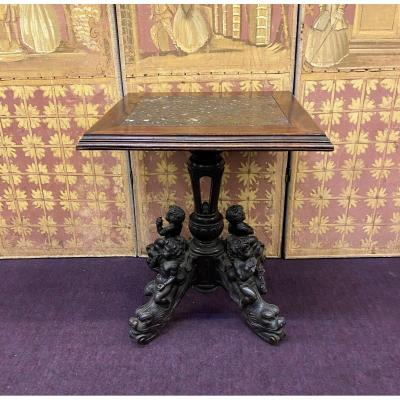 Carved Walnut Table On Marble Top, 19th Century