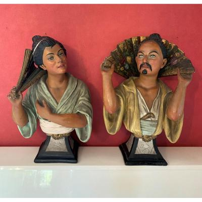 Pair Of Large Busts Representing A Japanese Couple In Polychrome Plaster, Circa 1920