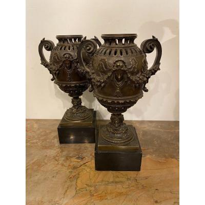 Pair Of Neo Renaissance Bronze Vases Circa 1850