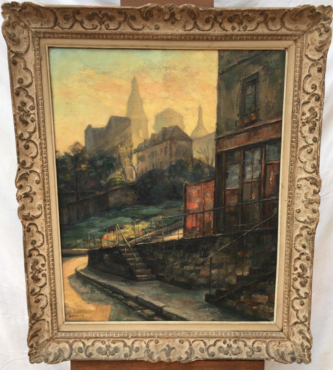 Tableau Vue De Montmartre,Huile sur toile De Henri Merlin