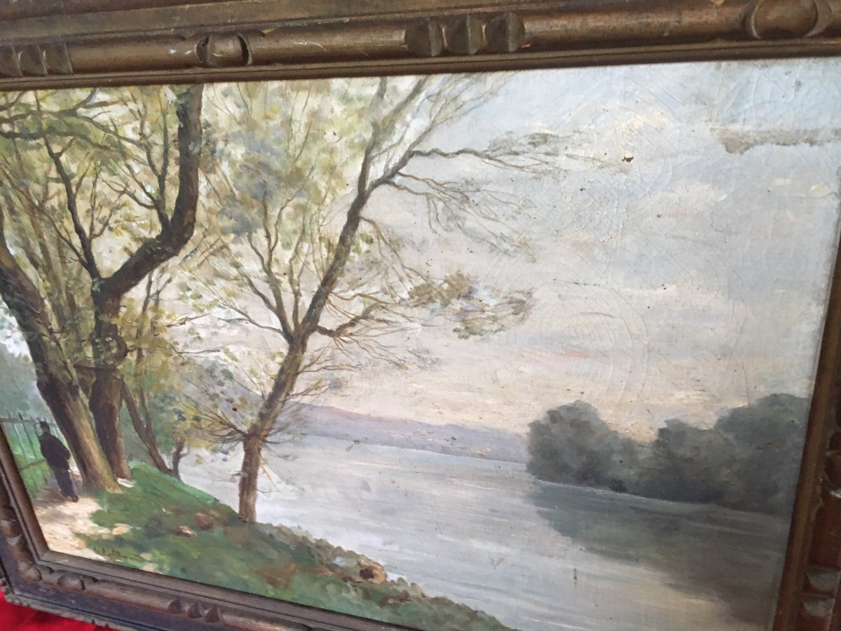 Landscape Painting Signed L.lallemand-photo-4