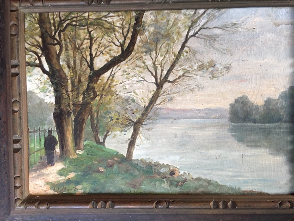 Landscape Painting Signed L.lallemand-photo-1