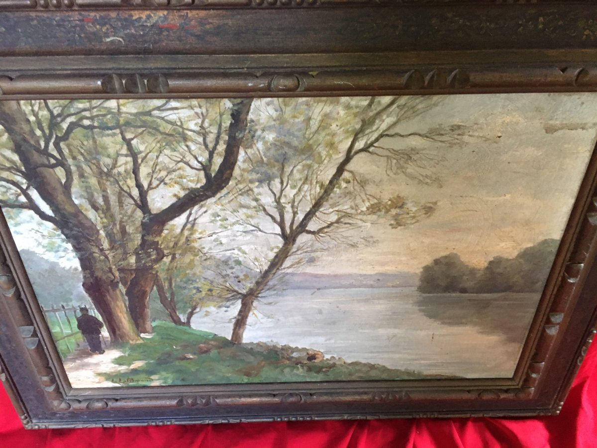 Landscape Painting Signed L.lallemand-photo-5