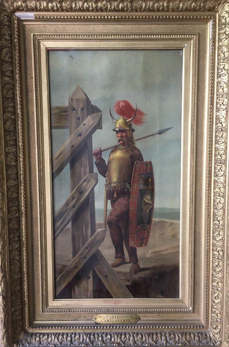 "Painting ""gallic Warrior"" Signed Charles Lepec"