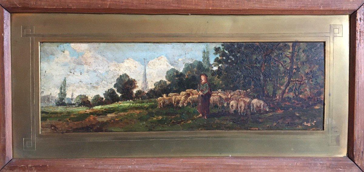 tableau scène pastorale fin 19ème