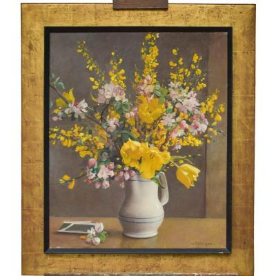 Table Flower Bouquet Signed Ehlinger Maurice