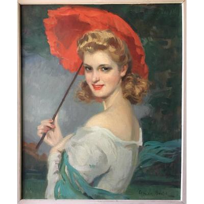 tableau femme a l,ombrelle rouge signé Boulet Cyprien