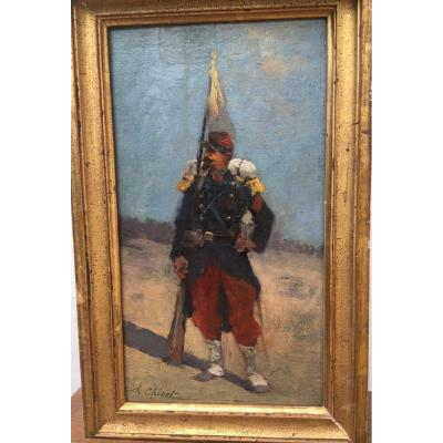 """Small """"soldier"""" Painting Signed A.chigot"""