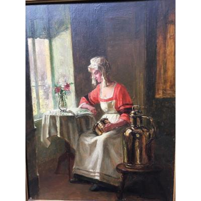 Table Oil On Panel Woman In Her Kitchen Signed Sorkau