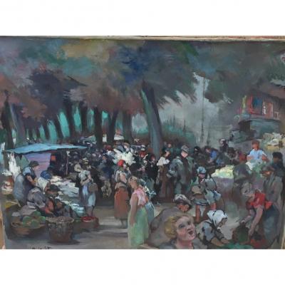 """market Scene"" Painting Signed Guéton"