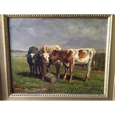 """Painting """"cows In The Meadow"""" XIXth"""