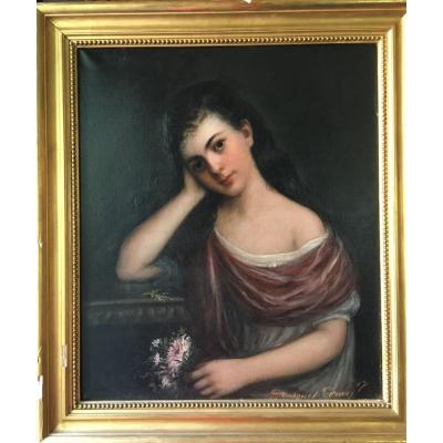 Tableau Portrait Jeune Fille XIXème