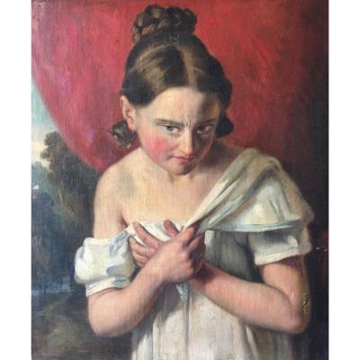 Tableau Portrait Jeune Femme XIXème