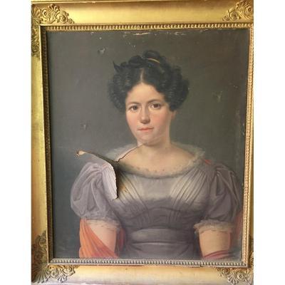 Tableau Portrait De Jeune Femme époque Empire