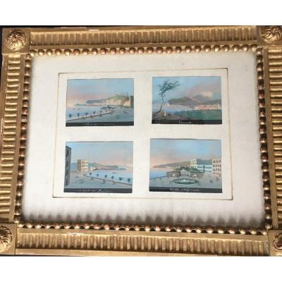 4 Small Gouaches Framed In The Same Golden Wood Frame