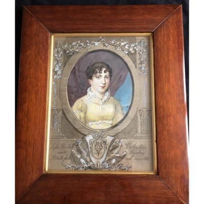 """tableau """"gouache portrait de femme"""" XIXème"""