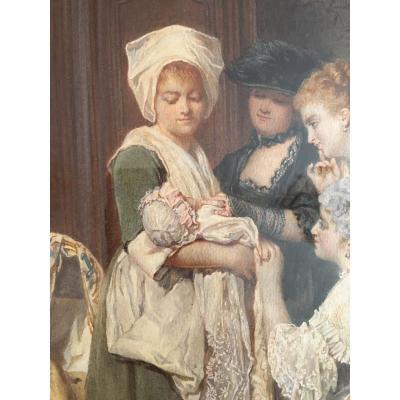 """Aquarelle """"le bébé entouré de sa famille"""" signée M.Lanjalley"""