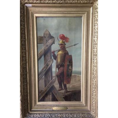 """tableau """"guerrier gaulois"""" signé Charles Lepec"""
