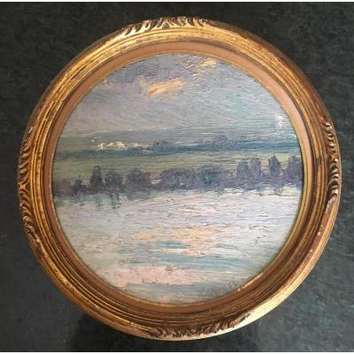 """2 Small Round Paintings """"landscapes"""" Signed R.quibel"""