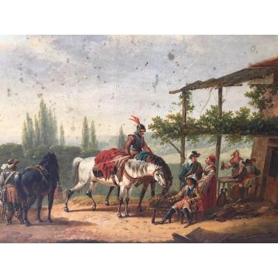 Tableau XIXème Scène De Genre Avec Chevaux