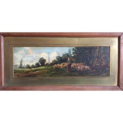 Painting Pastoral Scene Late 19th