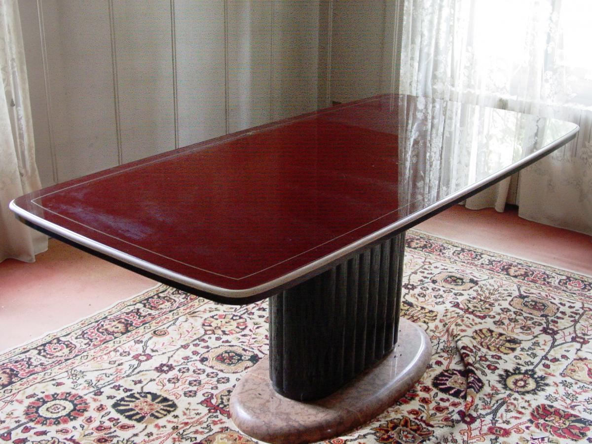 Table Design Italien Dessus Verre Laqué Rouge Bordeaux  C.1955-60