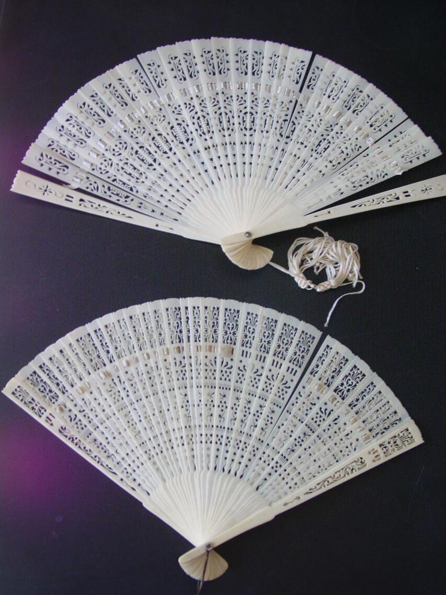 2 Ivory Openwork & Refined Canton Fans