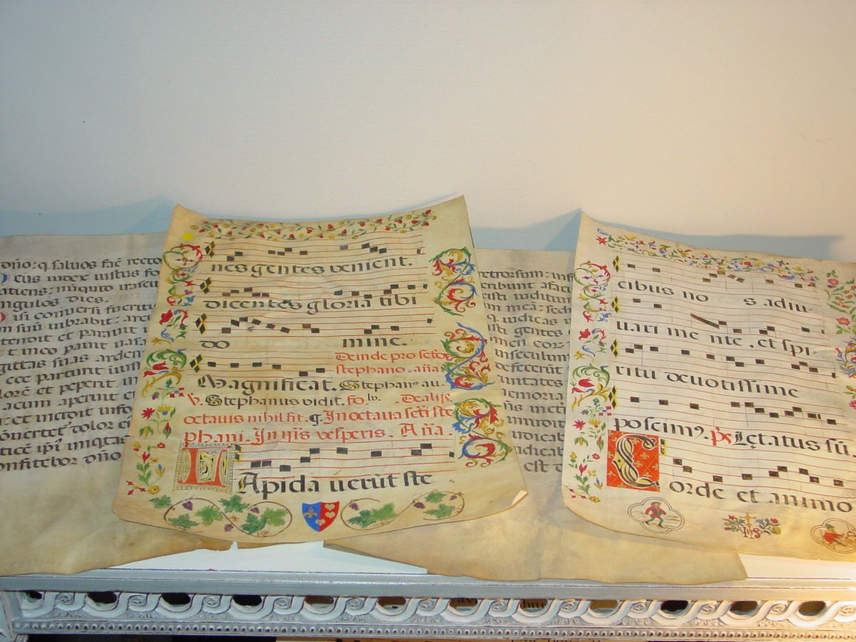 4 Antiphonary Sheets On Parchment 16th