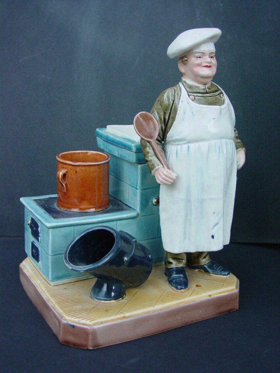Bernard Bloch Pot à Tabac 1900 Barbotine  Trés Fin & Humoristique cuisinier