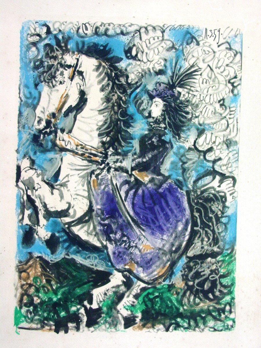 P. Picasso(1881-1973) Estampe  Extraite de Toros l'Amazone  corrida